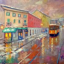 Tram in via Gorizia a Milano - Olio su tavola 50x40 (Codice M14 )