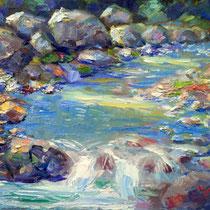 Ruscello - olio su tavola cm 37 x 24 - Codice P216