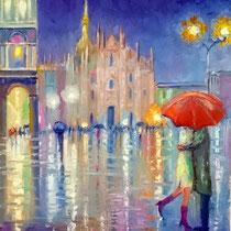 Innamorati a Milano - olio su tela cm 50x40 (Codice M12)
