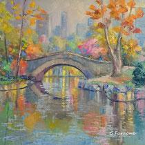 New York Central Park - olio su tela cm 60x60 (Codice284)