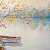 Lungo il fiume Adda. Olio su tavola cm 100 x 40 ( Codice 279)