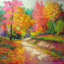 """Impressioni d'autunno"" olio su tela cm 60 x 60 (Codice 261)"