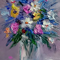 Vaso di fiori - minidipinto cm 15x10 olio spatola su faesite (Codice P01)