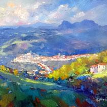"""""""Veduta di Picerno"""" Dipinto in corso d'opera olio su tela cm 80x60 (codice 283)"""