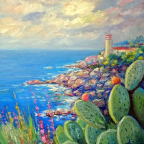 Paesaggio marino - olio su tela cm 60x70 (Codice 274 )