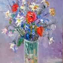 Vaso con fiori di campo - olio su tavola 20 x 30 - (Codice F03