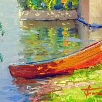 """""""Barca rossa a Pescarenico"""" olio su tavola cm 40x20 (Codice 252)"""
