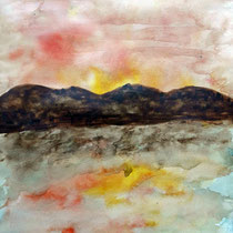 Sonnenuntergang Aquarell auf Papier 30 x 30  40,-