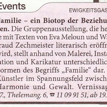 """Ankündigung der Vernissage und der Lesung in der """"Heute"""" Zeitung"""