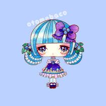 「ふるーつふれんど ブルーベリー」フルーツをモチーフとした少女のシリーズ(透明水彩 アクリルガッシュ 15cm×15cm)