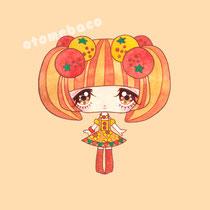 「ふるーつふれんど オレンジ」フルーツをモチーフとした少女のシリーズ(透明水彩 アクリルガッシュ 15cm×15cm)