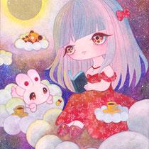 「おやすみタイム」(F0号18×14cm/透明水彩・色鉛筆/水彩紙) 個人蔵
