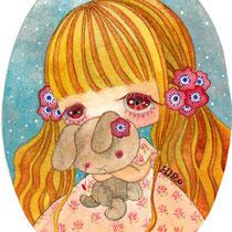 「少女の肖像」(9×6cm/透明水彩・色鉛筆/画用紙)