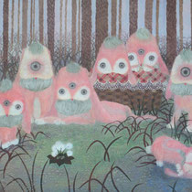 「幻の獣」(P30号/岩絵具・水干絵具・墨/高知麻紙)深い森の中に入った時、人と全く関わらない場所に 住んでいる幻の獣に出会った。私が獣を撮影してい る間、獣たちは私を珍しそうな目で見ていた。 獣たちにとっては私が幻の獣だったのかもしれない。