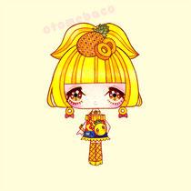 「ふるーつふれんど パイン」フルーツをモチーフとした少女のシリーズ(透明水彩 アクリルガッシュ 15cm×15cm)