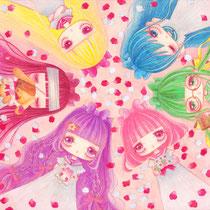 「PINK」(A4/透明水彩・色鉛筆/水彩紙)