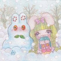「少女の冬休み」(透明水彩 9cm×9cm)