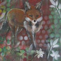 """""""fuchs und gans"""", 40 cm x 100 cm, acryl auf leinwand"""