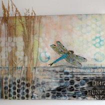 """""""guten flug"""", 80 cm x 50 cm, acryl mit gräsern auf jute"""