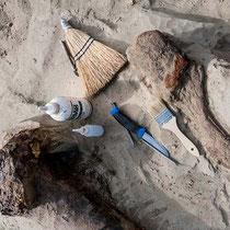 Pinsel, Messer, Wasser und Besen waren unerlässliche Hilfsmittel