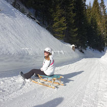 Laura on the sled