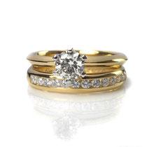 Klassiker: Solitär- und Memoire-Ring in Gelbgold 750/000