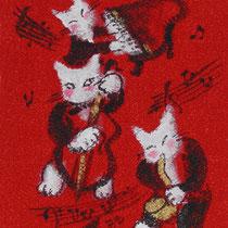 ネコのミュージシャン / ちりめん生地・アクリル絵の具