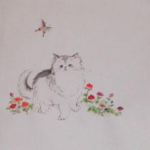 ペルシャネコ/ なめらかな布・墨彩画