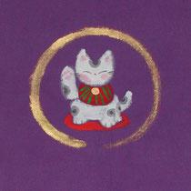 招き猫 / なめらかな布・墨彩画