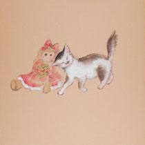 お人形となかよし/ なめらかな布・墨彩画