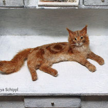 1:12 GINGER MAINE COON CAT