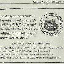 Unser Dank an alle Besucher, 21.04.2011