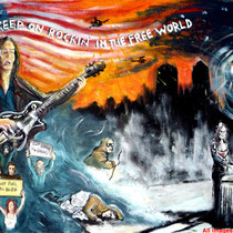Rockin' in the free world - Acrilico su cartone telato