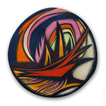 "© Lilla Hangay, ANEW 6, 2015, graphite, colored pencil and oil pastel crayons on wood panel, ca 12"" diameter"