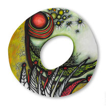 "© Lilla Hangay, JULY LANDSCAPE, 2008, acrylic, graphite, colored pencil on wood panel, ca 41"" diameter"