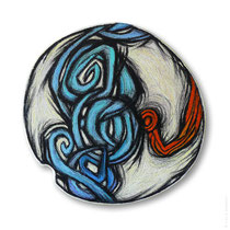 "© Lilla Hangay, ERUPTIONS 16, 2008, graphite, colored pencil, oil pastel crayons on wood panel, ca 7"" diameter"
