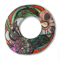 "© Lilla Hangay, BLOOM, 2008, acrylic, graphite, colored pencil on wood panel, ca 43"" diameter"