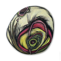 "© Lilla Hangay, ERUPTIONS 14, 2008, graphite, colored pencil on wood panel, ca 9"" diameter"