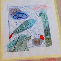 Arbeitsbeispiel Frottage in Verbindung mit Collage