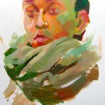 Boceto de mujer con bufanda verde.