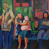 Boceto para cuadro, con mujer embarazada.