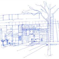 """""""Atrium City Center"""", Skizze im Rahmen von Urban Sketching, 2017 - © Wolfgang Hauer"""