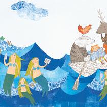 """""""Meerjungfrauen"""" - Illustration zum Österreichischen Kinder- und Jugendbuchreis, 2016 - © Leonora Leitl"""