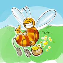 """Busy Bee Honigetikette"", freie Arbeit, 2019 - © Wolfgang Menschhorn"