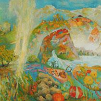 Inner Gebirg Paradies, 88 x 120cm, Acryl auf Holzplatte