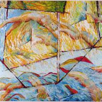 Breaking Free, 64cm x 80cm, Ölstift auf Papier, verkauft