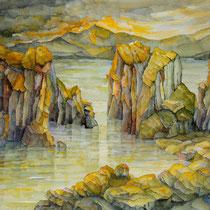 Evening Light in the Lagoon, 36cm x 45cm, Aquarell, verkauft