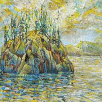 Haystag Island, 26cm x 33cm, Ölstifte, verkauft