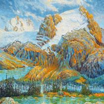 Mount Slalok, Joffre Lake, 73cm x 59,5cm, Acryl auf Holzplatte, verkauft