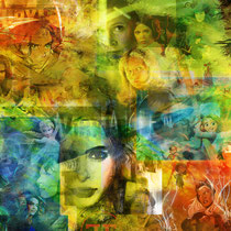 """Collage """"Female Kickassery"""" für den Leinwanddruck; eigenes Projekt"""
